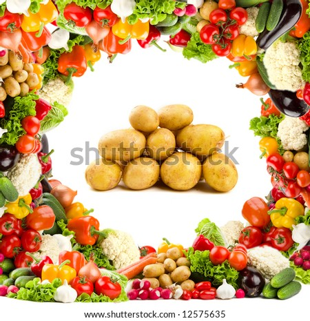 Healthy food - potatoes. With bright vegetable frame - stock photo