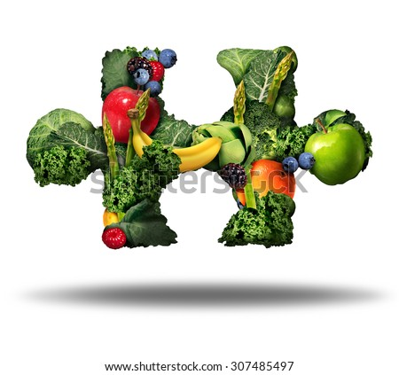 Healthy food solution and eating fresh fruits and vegetables symbol as raw produce shaped as a puzzle piece on a white background as a natural nutrition lifestyle icon. - stock photo