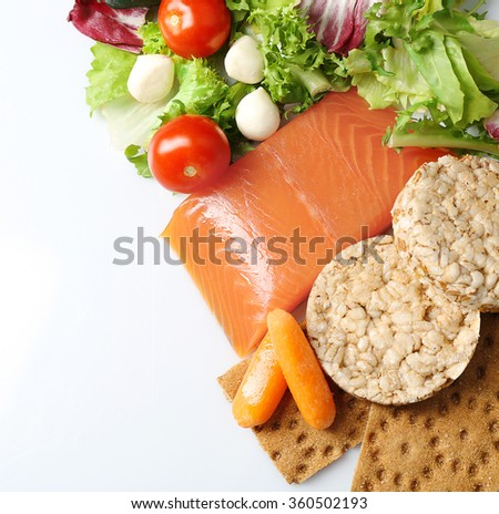 Healthy foods isolated on white. Healthy eating concept.  - stock photo