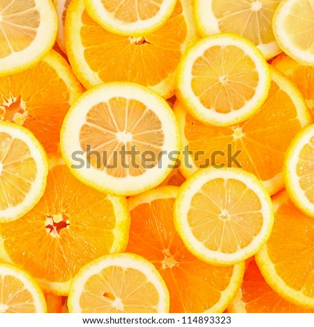Healthy fresh  food background. Lemon and orange. - stock photo