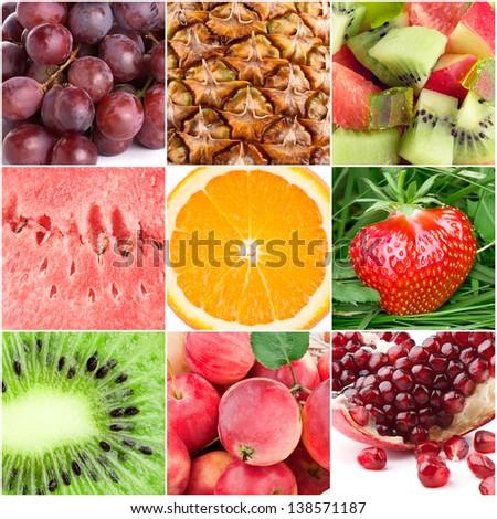 Healthy fresh fruit backgrounds - stock photo