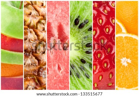 Healthy fresh fruits background - stock photo