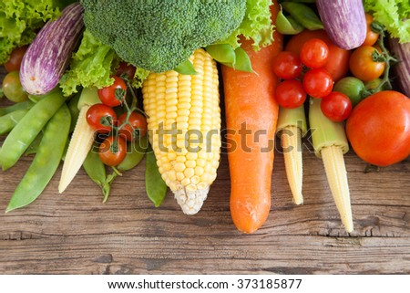 healthy fresh fruits on wooden table - stock photo