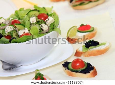 Healthy fresh garden salad - stock photo