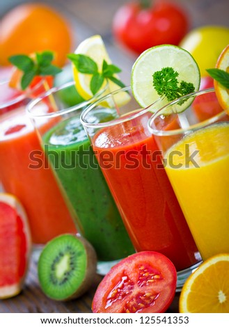 Healthy fruit and vegetable smoothie - stock photo