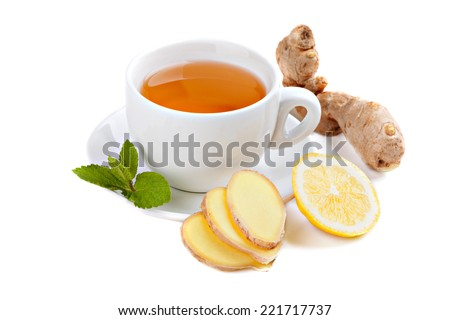 Healthy ginger tea with lemon and mint - stock photo