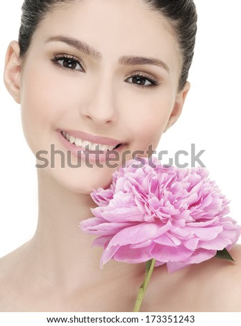 healthy girl with pink flower - stock photo