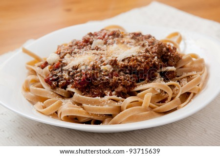 healthy gluten free pasta noodles with home made meat and tomato sauce - stock photo