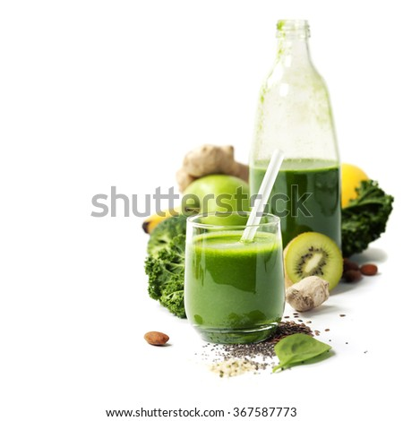 Healthy green smoothie and ingredients on white  - superfoods, detox, diet, health, vegetarian food concept - stock photo