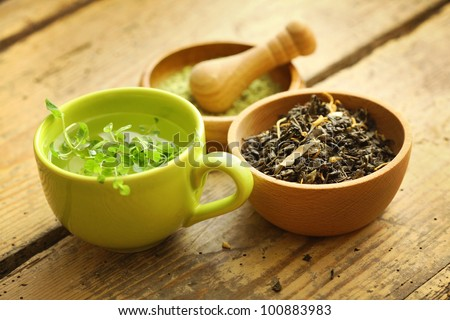 healthy green tea cup - stock photo