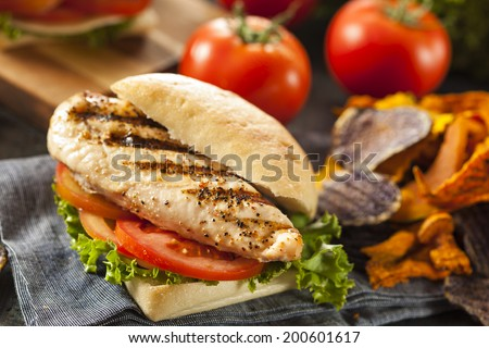 Healthy Grilled Chicken Sandwich with Veggie Chips - stock photo