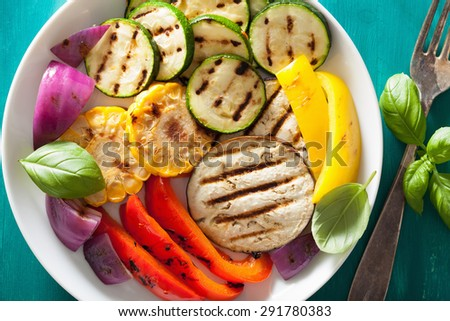 healthy grilled vegetables on plate - stock photo
