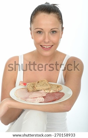 Healthy Happy Attractive Young Woman Holding a Scandinavian Style Cold Meat Breakfast - stock photo