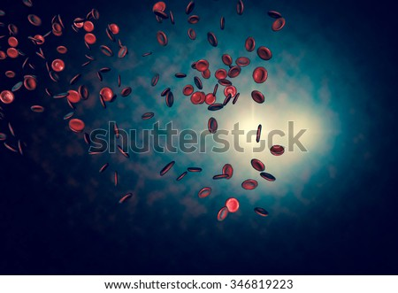 Healthy human red bloodcells in close up 3d graphics render - stock photo