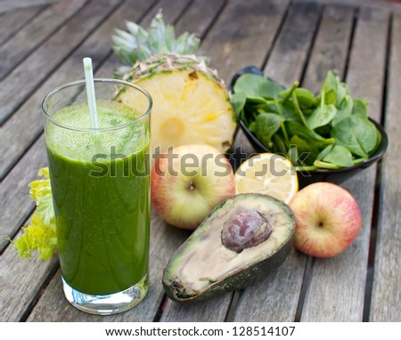 healthy juice made of freshly juiced fruits and vegetables - stock photo