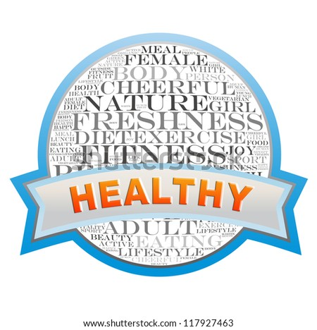 Healthy label info-text graphics and arrangement concept on white background - stock photo