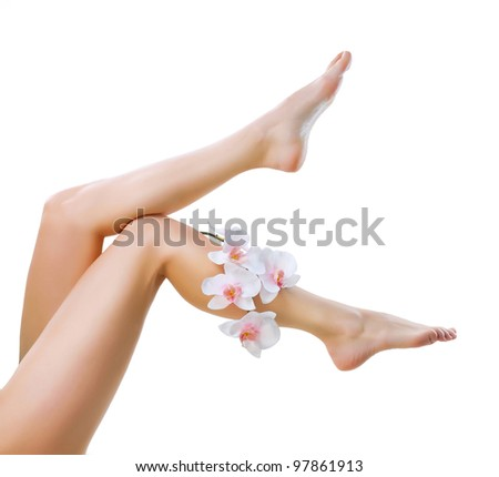 Healthy Legs. Spa. Long woman legs isolated on white - stock photo