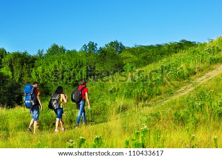 Healthy leisure for three teenage friends - stock photo