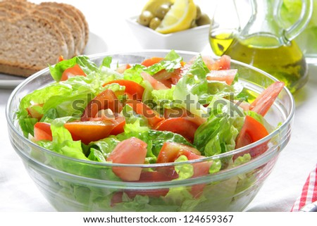 healthy lettuce and tomato salad - stock photo