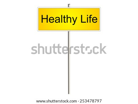 Healthy life. Traffic sign on a white background. Raster.  - stock photo