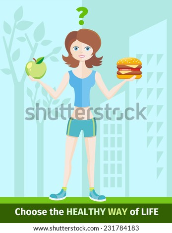 Healthy lifestyle and dieting concept with woman in sportswear choosing between eat green apple or hamburger. Raster version  - stock photo