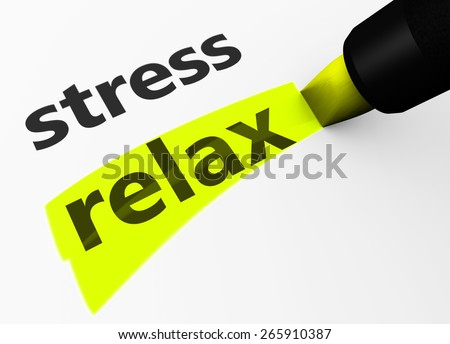 Healthy lifestyle and wellness concept with a 3d rendering of stress text and relax word highlighted with a yellow marker. - stock photo
