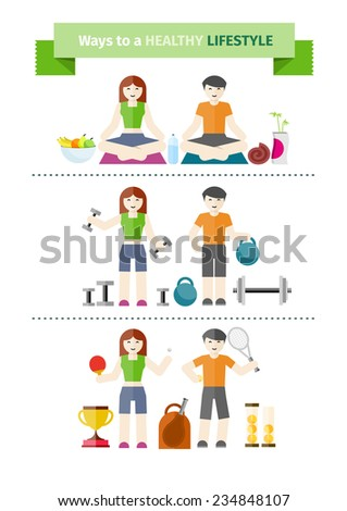 Healthy lifestyle concept with couple practising yoga, healthy eating, exercising with weight and playing tennis. Raster version - stock photo