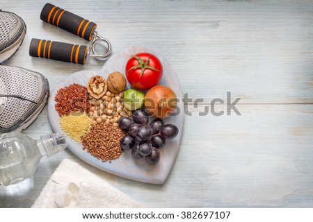 Healthy lifestyle concept with diet and fitness - stock photo