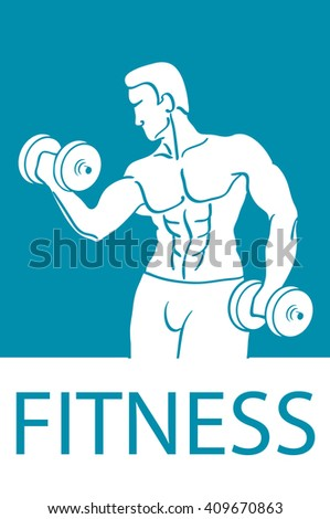 Healthy lifestyle design. Fitness couple and fitness club concept with strength health and beauty symbols flat  illustration - stock photo