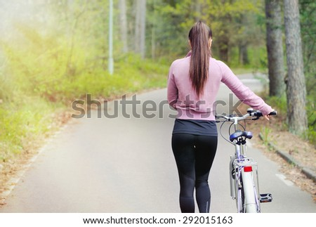 healthy lifestyle fitness sporty woman in forest area, healthy lifestyle concept - stock photo