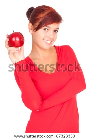healthy lifestyle - girl with red apple, white background - stock photo