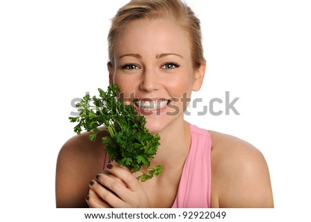 Healthy Lifestyle Portrait. Woman with lettuce - stock photo