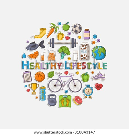 Healthy lifestyle sticker set with shadow in the form of a circle. - stock photo