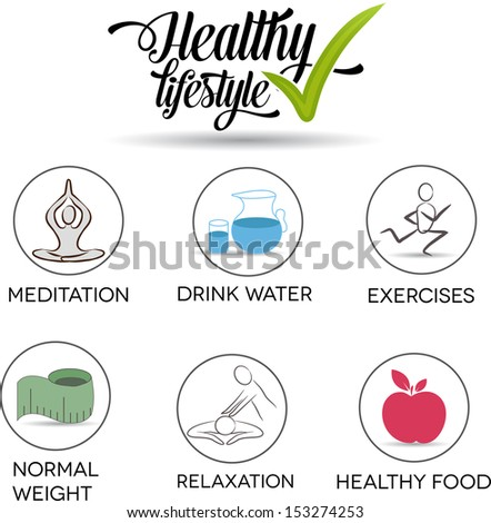 Healthy lifestyle symbols. Drink water, exercises, normal weight, healthy food, relaxation, meditation.  - stock photo