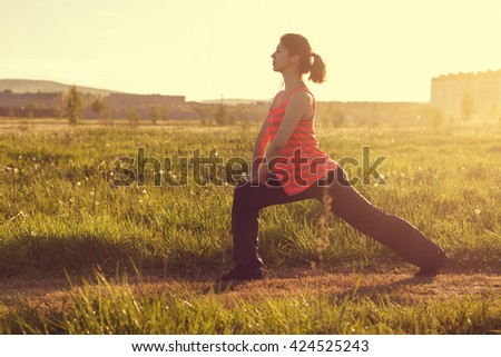 healthy lifestyle young sporty woman Outdoors - stock photo