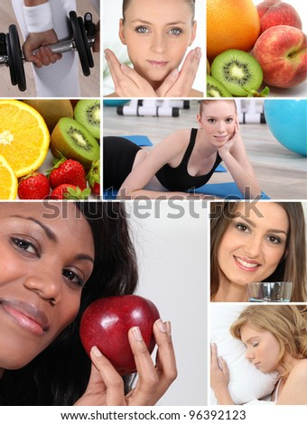 Healthy living themed montage - stock photo