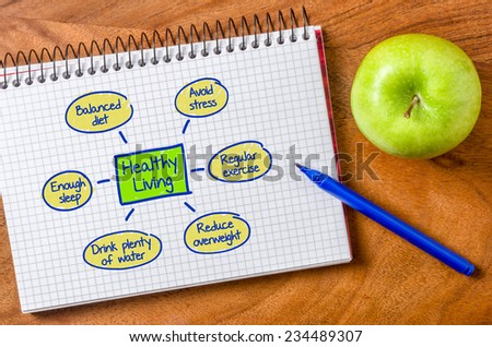 Healthy living written on a notepad - stock photo