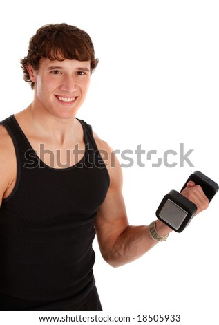 Healthy Looking Young Man Lifting Weight on Isolated Background - stock photo