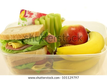 Healthy lunch por one person on isolated background - stock photo
