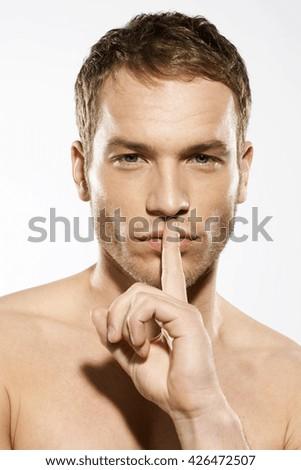 Healthy man face portrait in studio - stock photo