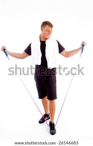 healthy man stretching exercise rope against white background - stock photo