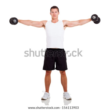 healthy man working out with dumbbells over white background - stock photo