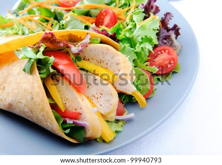 Healthy meal of smoked chicken burrito with plenty of raw salad - stock photo