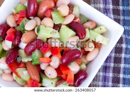 Healthy mixed bean salad bowl - stock photo