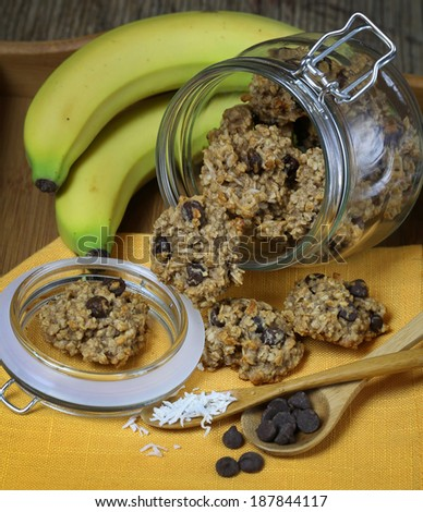 Healthy oatmeal and banana cookies  - stock photo