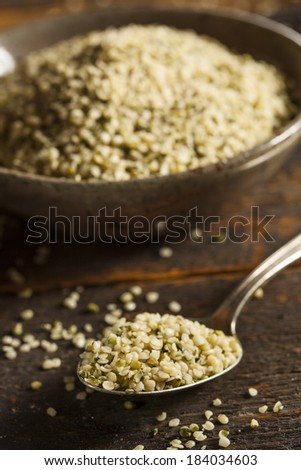 Healthy Organic Hulled Hemp Seeds in a Bowl - stock photo