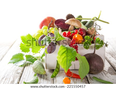 Healthy organic vegetable on wooden table, close-up. - stock photo