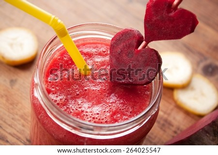 Healthy Red Smoothie with beetroot, banana and ginger - stock photo