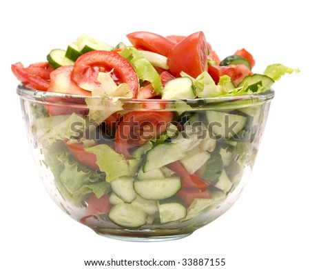healthy salad in bowl isolated on white - stock photo