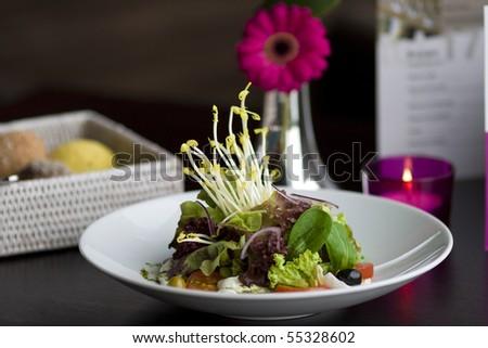 Healthy salad with lettuce, tomato, mozzarella and onions. - stock photo
